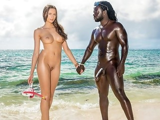 interracial On the shore of the black sea Jock eagerly Fucks slender chick... outdoor straight