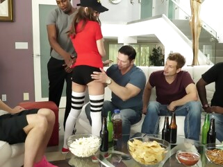 anal Brunette on the sofa caters to the crowd of men and gets double penetr... brunette cumshot
