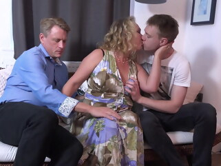 granny Dad and son sharing mature mother