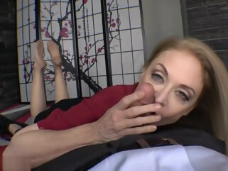 blonde Nina Hartley nylon feet footjob and blowjob blowjob fetish