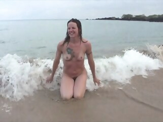 milf Smiley Blonde MILF nude at the beach and after a shower small tits solo female