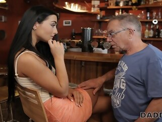 blowjob DADDY4K. Anna has old and young sex act in the bar of her boys dad brunette czech