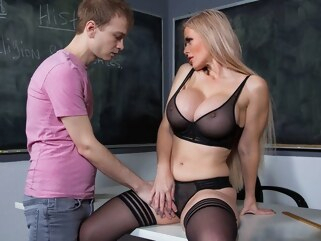big tits Mom is a teacher undressed to stockings and pants large milkings durin... blonde cumshot
