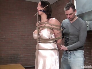 bdsm Karol Lilien & Ar in Cindy Gets Hogtied, Cleavegagged, And Stripped - KINK big tits brunette