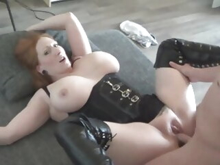 amateur big boobed redhaired milf fucked in high leather boots blowjob redhead