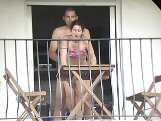 anal The neighbor gets fucked from all sides on the balcony cumshot public nudity