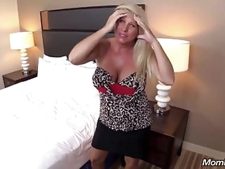 blonde Huge Boobs Blonde MILF fucks young cock POV bbw milf