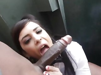 hardcore Waitress takes a BBC break behind the restaurant public nudity interracial
