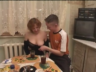 granny Russian aged pleasure with two youths group sex russian