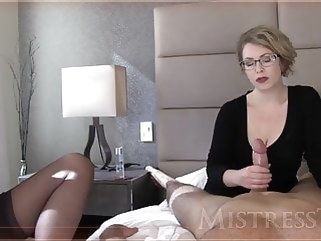 mature Mistress T jerks a dick handjob bdsm