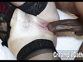 amateur MILF Takes Massive BBC top rated creampie