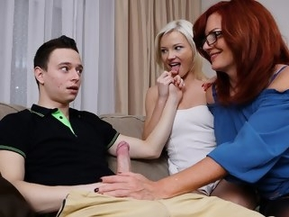 big tits Mature mom persuaded a young couple to have a Threesome on the couch... hairy mature