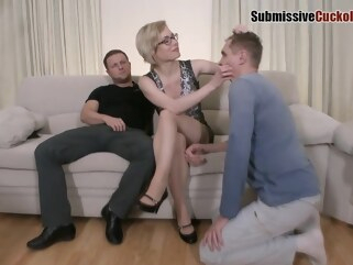anal Dirty minded blonde milf is having a wild anal threesome with two horny guys, on the sofa blonde cuckold