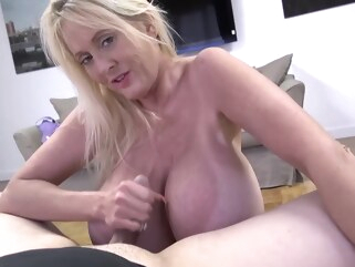 big ass Mature blonde woman with massive milk jugs is getting her daily dose of fuck in the bedroom big tits blonde