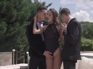 anal Slim, filthy rich chick, Amirah Adara is having casual sex with two guys, because she likes DP brunette double penetration