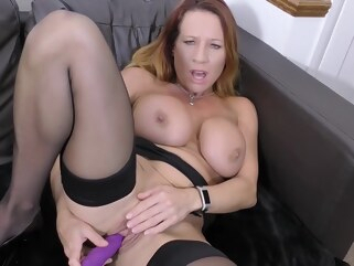 big tits Busty blonde woman is playing with her big tits while getting ready to rub her pussy hd lingerie