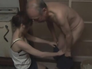 japanese Saki tsuji taking care of old man straight