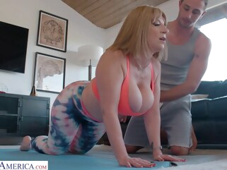 big ass Curvaceous, blonde mommy with big milk jugs, Sara got down and dirty with Lucas, and enjoyed it big tits blonde