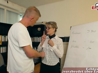 amateur german mature milf seduced younger guy in office german housewife