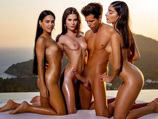 brunette Three beautiful brunettes at sunset gave the boy group Orgy... group sex outdoor