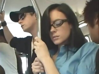 public Stephanie got faciel with vibrator in her pussy on the bus