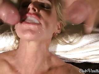 amateur Busty Blonde Milf getting cum all over her face and ass blowjob cumshot