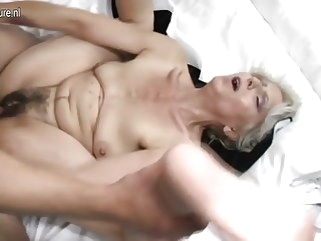 amateur Hairy grandma hard fucked by young lover mature milf