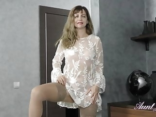 hairy Full-Bush 44yr-old Auntie Olga Gets-off in Stockings mature stockings