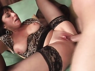 brunette Sexy mature in stockings fucks really good (TOP MATURE) mature stockings