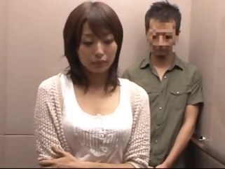 asian Housewives in the backroom of elevator .. skinny creampie