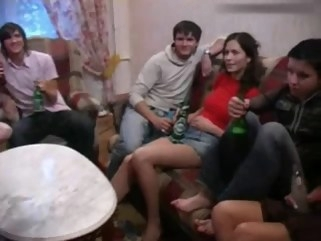 russian Russian Students having a party straight